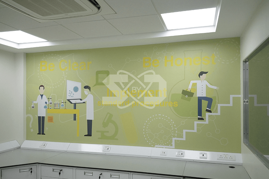 Creatives on the walls of the laboratory, lab furniture and HVAC