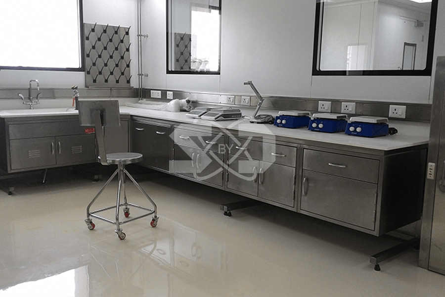 turnkey lab with eye wash showers, analytical balance, taps and valves