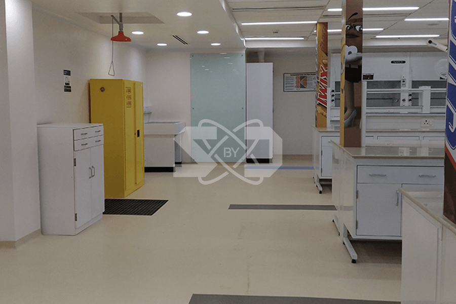 interior design of laboratory, safety showers