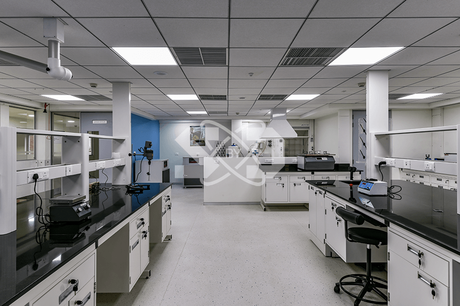 interior design of laboratory with analytical balance, furniture, fume hoods